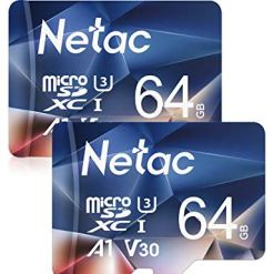 41Bf66o8oCL - Netac 64GB Micro SD Memory Card 2 Packs, MicroSDHC Card UHS-I 100/30MB/s(R/W), 667X, C10, U3, A1, V30, 4K, TF Card for Camera, Smartphone, Security System, Drone, Dash Cam, Gopro, Tablet, DSLRs
