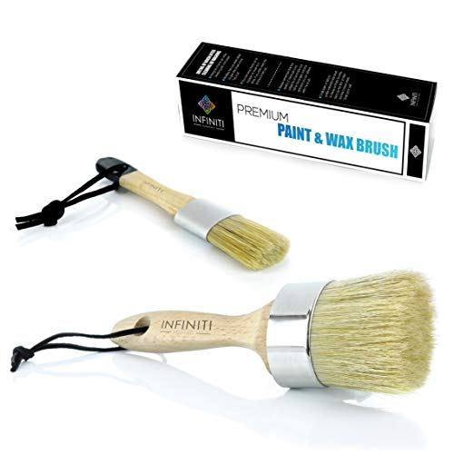 2 PC SUPER COVERAGE !!!! PROFESSIONAL CHALK AND WAX PAINT BRUSH !!! DIY Painting and Waxing Tool | Natural Bristles | Home Décor, Wood Projects, Furniture, Stencils | Reusable