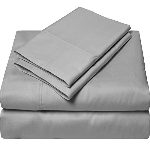 King Size Egyptian Cotton Sheets Luxury Soft 1000 Thread Count- Sheet Set for King Mattress Light Gray Solid