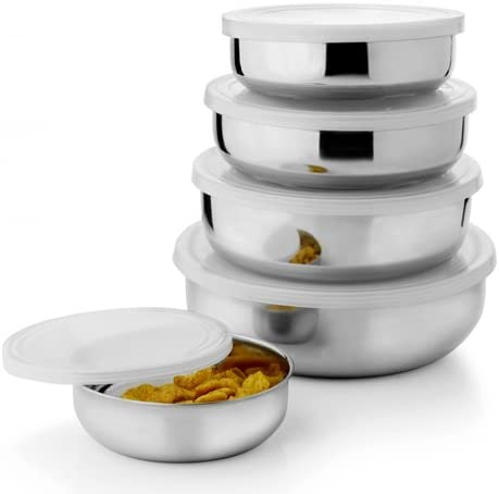 Kitchen Pro Stainless Steel Air Tight Lid Bowl Set of 5 Pcs