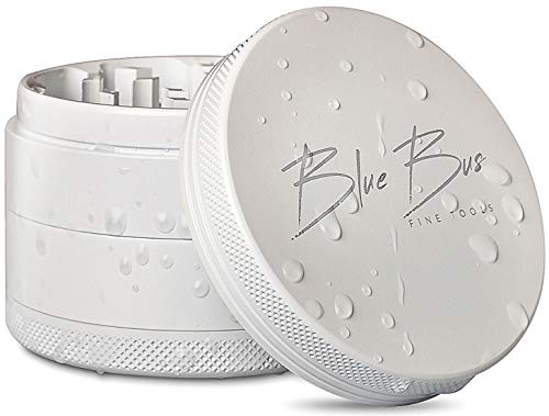 NON-STICK Best Herb Grinder, Ceramic coated, Large 2.5' inch 4-Piece, White color, PREMIUM design by BlueBus fine tools