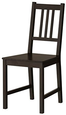 Ikea Stefan Dining Chair Solid Stained Pine Black Brown Amazon Co Uk Kitchen Home