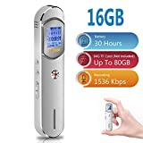 Voice Recorder, 16GB 1536Kbps Digital Voice Activated Recorder for Meetings,Lectures,Class - Stereo Audio Sound Recorder with 64GB TF Card Expansion, Noise Reduction, Password, USB Charge by Hfuear
