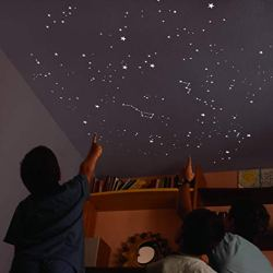 Kit of 540 phosphorescent STARS + TEMPLATE of 2 m². EXACT REPRODUCTION OF THE SKY + 2 MAPs with indications. For 2 ceilings or walls.Exclusive and original decoration. Fluorescent glow stickers