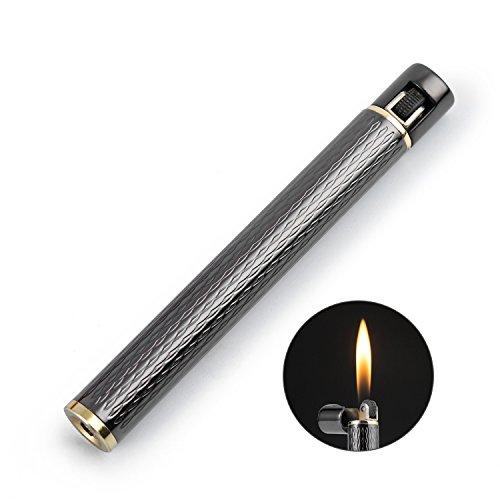 Cigarette Shaped Butane Lighter, Gas Refillable with 3 Back-up Flint Fire Starter for Men, Women (Gray)