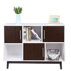 FIVEGIVEN Mid-Century Modern Wood TV Stand Storage Entertainment Center with Cabinet Doors White/Brown Walnut