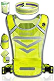 High Visibility Reflective Running Vest with 3 Pockets, 2 Adjustable Ankle/Armbands, 1 Headband & Bag   Night Safety Gear Set for Dog Walking, Jogging, Cycling or Motorcycle   Men & Women