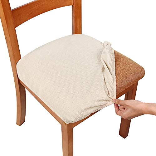 smiry Stretch Spandex Jacquard Dining Room Chair Seat Covers, Removable Washable Anti-Dust Dinning Upholstered Chair Seat Cushion Slipcovers - Set of 4, Beige