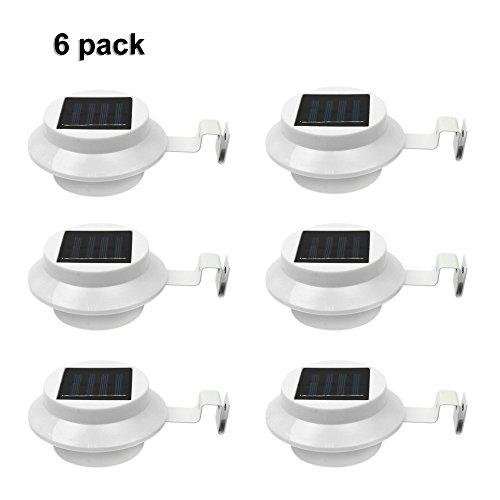 6Pack Outdoor Solar Gutter LED Lights - White Sun Power Smart Solar Gutter Night Utility Security Light