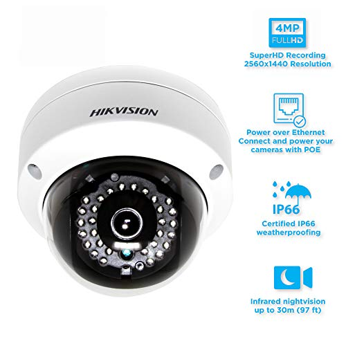 Hikvision DS-2CD2142FWD-I 4MP WDR Dome Network Camera with DC12V & PoE(Waterproof Day Night Motion Detection PoE)30m IR