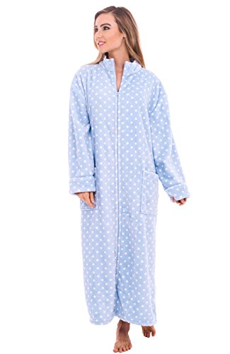 Alexander Del Rossa Womens Fleece Robe, Soft Zip-Front Bathrobe, Large XL Light Blue with White Dots (A0300P14XL)