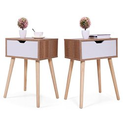 JAXPETY Set of 2 Bedside Table Nightstands with White Storage Drawer and Solid Wood Legs for Living Room Bedroom Home…