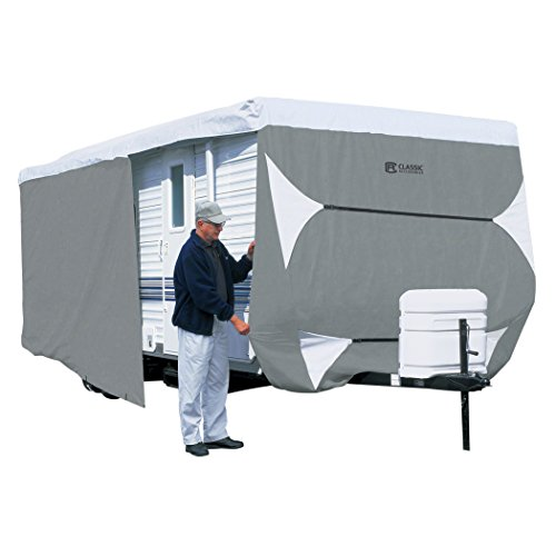 Classic Accessories OverDrive PolyPRO 3 Deluxe Travel Trailer Cover or Toy Hauler Cover, Fits 20' - 22' RVs - Max Weather Protection with 3-Ply Poly Fabric Roof Travel Trailer Cover (73263)