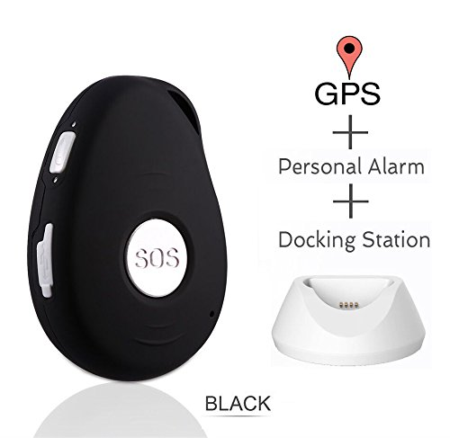 GPS Tracker,GPS Tracking System with Real Time Tracking, SOS Alarm, 2-Way Voice, Spy Mode, Geo-Fence, Fall Detection, Speed Alert, GPS Tracking for Kids/ Seniors/ Personal (SOS black)