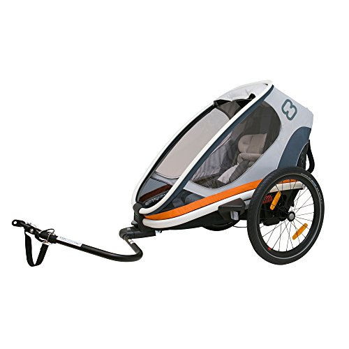 Hamax Outback Multi-Sport Child Bike Trailer + Stroller +Jogger, Scandinavian Safety & Design (One Seat, White/Orange)
