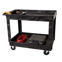 Rubbermaid-Commercial-Utility-Cart-Lipped-Shelves-Medium-Black-4-Non-Marking-Swivel-Casters-300-lb-Capacity-FG9T6700BLA