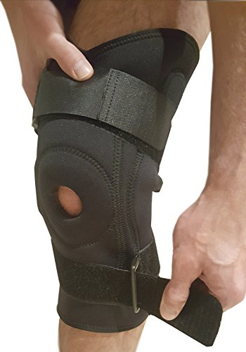 Knee Brace Adjustable Knee Support - Hinged Knee Stabilizer Brace for Running, ACL or Meniscus Tear. Patella or Knee Joint Tendinitis Pain Relief with Knee Compression Sleeve Fits Left & Right Knees