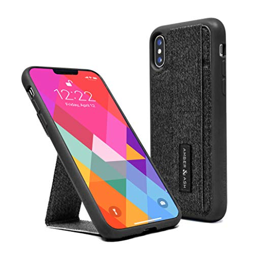 iPhone X/Xs Case - Amber & Ash Stand Wallet Case - Protective and Durable Kickstand Case with Hidden Card Slot and Reflective Feature (Grey)