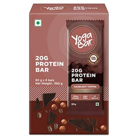 Yogabar 20G-Protein Bar Hazelnut Toffee – Pack of 6, Keto Snacks with High Pure Whey Protein, Omega 3s and 10G Fiber, Gluten-Free Nutrition Bars for Gym, Bodybuilding, and Healthy Diet