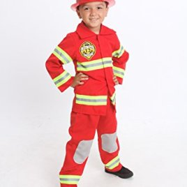 Fireghter Costume Light up Kids with Hat Fire man chief