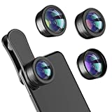 Phone Camera Lens,Upgraded 3 in 1 Phone Lens kit-198° Fisheye Lens + 20X Macro Lens + 120° Wide Angle Lens,Clip on Cell Phone Lens Kits Compatible with iPhone,iPad,Most Android Phones and Smartphones