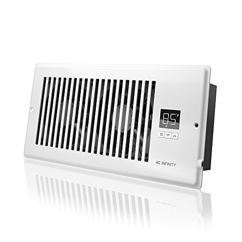 AC Infinity AIRTAP T4, Quiet Register Booster Fan with Thermostat Control. Heating Cooling AC Vent. Fits 4' x 10' Register Holes.