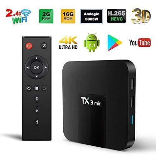 Android TV Box, TX3 Mini Android 7.1.2 TV Box Quad Core 64 Bits Support WiFi 100M LAN Smart TV Box 4K 3D HDR IPTV Media Player