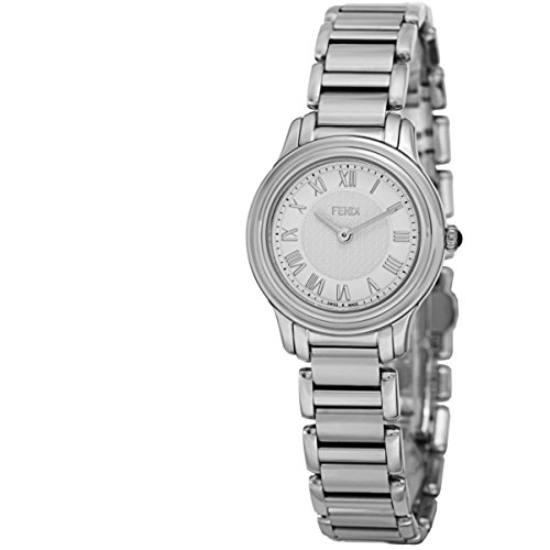 41CXL6IfK6L Polished stainless steel case and bracelet, Stainless steel caseback (screw-in), White dial, with a textured FF pattern in the center. Silvertone hands, Silvertone Roman numerals Sapphire crystal, Swiss quartz movement, Push/pull crown and a Push-button deployment clasp