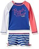 Nautica Toddler Girls' Rashguard Swim Suit Set, Medium Dazzle Blue, 4T