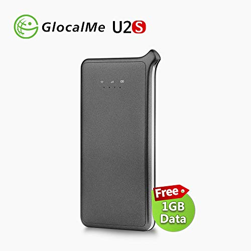 GlocalMe U2S 4G LTE High Speed Network Mobile Hotspot, Worldwide WiFi Portable Hotspot with 1GB Global Initial Data, No SIM Card Roaming Charges Travel Pocket WiFi Hotspot MIFI Device (Grey)