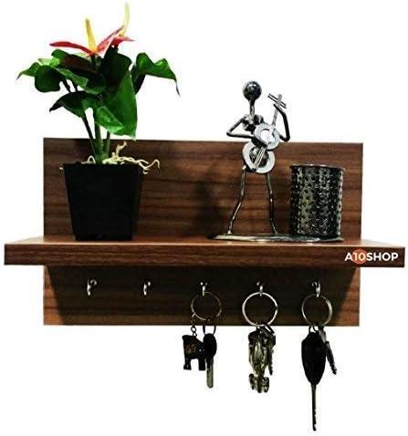 A10SHOP Omega 6 Engineered Wood Key Holder with Wall Decor Shelf, 5 Key Hooks – Walnut