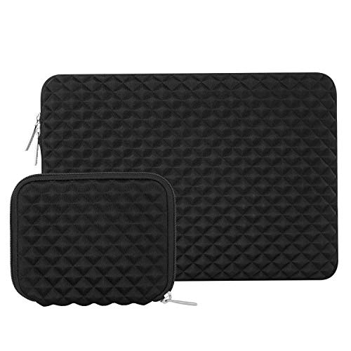 MOSISO Laptop Sleeve Bag Compatible 13-13.3 Inch MacBook Pro, MacBook Air, Notebook Tablet with Small Case, Shock Resistant Diamond Foam Water Repellent Neoprene Protective Carrying Cover, Black