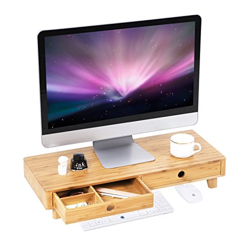 SONGMICS Bamboo Wood Monitor Stand Computer TV Riser with 2 Drawers Laptop Printer Stand Desktop Container with Keyboard Storage Space Natural ULLD701NL