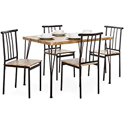 Best Choice Products 5-Piece Indoor Modern Metal and Wood Rectangular Dining Table Furniture Set w/ 4 Chairs - Brown
