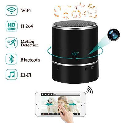 Telecamera Nascosta LXMIMI 1080P WIFI Spia Telecamera Altoparlanti Bluetooth Mini Telecamera senza fili Orizzontale Ruota di 180 ° Movimento Visuale Fotocamera Sorveglianza di Sicurezza Domestica