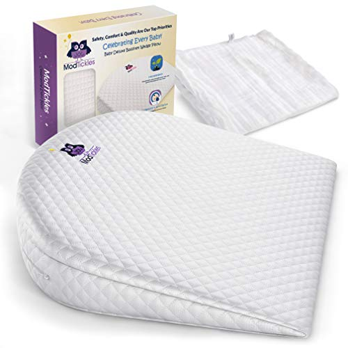Bassinet Wedge, Baby Wedge Sleep Positioner & Bonus Swaddle by ModTickles – Newborn Baby Incline Pillow and Baby Acid Reflux Relief - Elevated Mini Crib Pillow for Infants - Babies Anti Reflux Insert