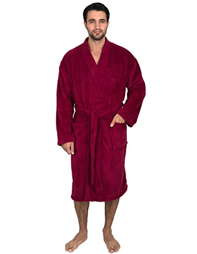 TowelSelections Super Soft Plush Kimono Bathrobe Fleece Spa Robe for Men Large/X-Large Beaujolais