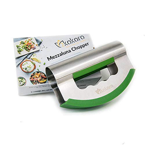 Mezzaluna Salad Chopper Double Blade-Stainless Steel Mezzaluna Knife-Protective Cover&Ergonomic Grip Handle-Double Blade Salad Cutter-Rocking Knife for Vegetable&Herb-Mincing Chopper for Quick Salad