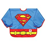 Bumkins DC Comics Superman Sleeved Bib / Baby Bib / Toddler Bib / Smock, Months, Waterproof, Washable, Stain and Odor Resistant, 6-24 Months