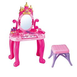 Newmao Toddler Girls Fantasy Vanity Beauty Dresser Table with Induction Function & Makeup Accessories Play Toy (Multicolor)