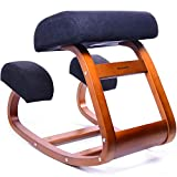 Ergonomic Office Chair, WishaLife Kneeling Chair Rocking Posture Wood Stool for Home Office & Desk Chair |Orthopedic Stool Relieving Back and Neck Pain & Improving Posture | Larger Seat,Thick Cushions