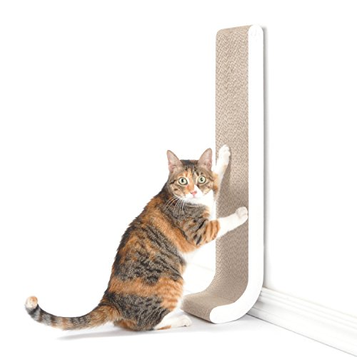 4CLAWS Wall Mounted Scratching Post 26' (White) - BASICS Collection Cat Scratcher, 26 x 5.7 x 5.5 in
