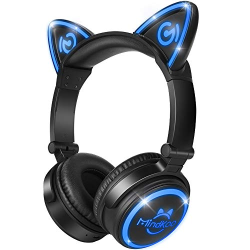 MindKoo Bluetooth Headphones, Over-Ear Wireless Headphones, Cat Ear Headphones with LED Light, Foldable, Built-in Microphone and Volume Control for PC/Cell Phones/Kids/Teenager/Boys/Girls/Adults