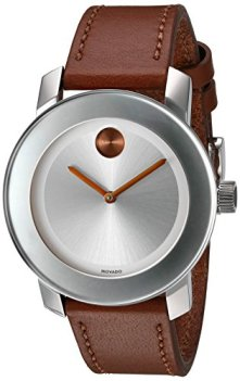 Movado Women's Swiss Quartz Stainless Steel and Leather Watch, Color: Brown (Model: 3600379)