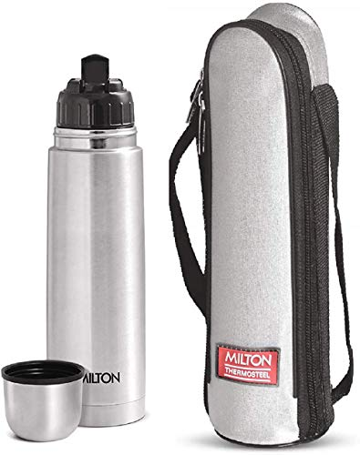 41CqaA4KDzL - Milton Flip Lid 750 Thermosteel 24 Hours Hot and Cold Water Bottle with Bag, 750 ml, Silver