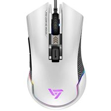 VicTsing Pro RGB Gaming Mouse Wired, 16.8 Milllion Chroma RGB Color,7250 DPI Optical Sensor, 6 Programmable Buttons, Adjustable DPI Sniper Button, Comfortable Weights and Grips-White