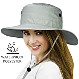 Tirrinia Unisex Waterproof Sun Hat Wide Brim Safari Fishing Golf Boonie Hat with Adjustable Drawstring for Men Women Outdoor Hiking Camping Boating Hunting Grey