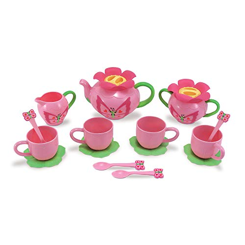 "Melissa & Doug Bella Butterfly Pretend Play Tea Set, Pretend Play, Food-Safe Material, BPA-Free, Durable Construction, 15.5"" H x 12"" W x 4.5"" L"