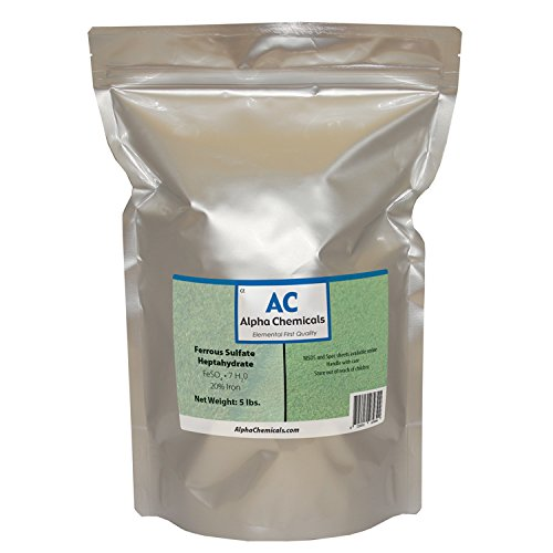 Alpha Chemicals Ferrous Sulfate Heptahydrate - FeSO47H2O - 20% Iron - Very Soluble - 5 Pounds