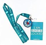 Underground Toys Sherlock Lanyard I am Sher Locked with I Heart Sherlock Charm Action Figure, Teal